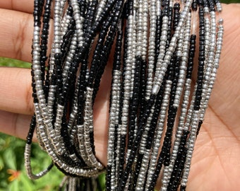 Black and Silver Color Block Removable Screw On Waist Beads