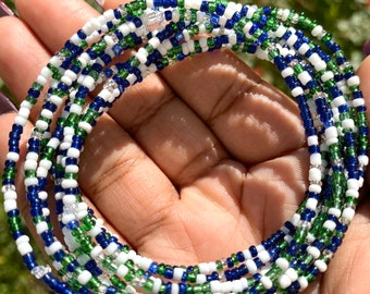 Blue, Green, White and Clear 10 Beaded Bracelet Set