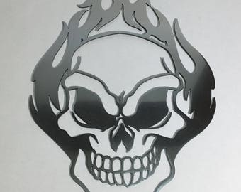 Flaming Skull Metal Wall Art