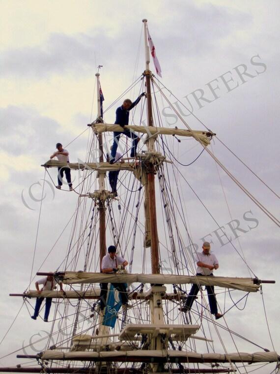 Square Rig Sailors Hobart Wooden Boat Show Tasmania Stock Photo