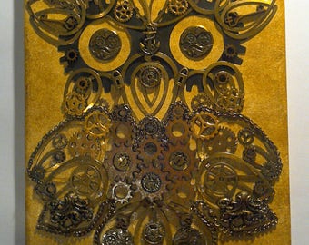 Steampunk style owl mixed media canvas
