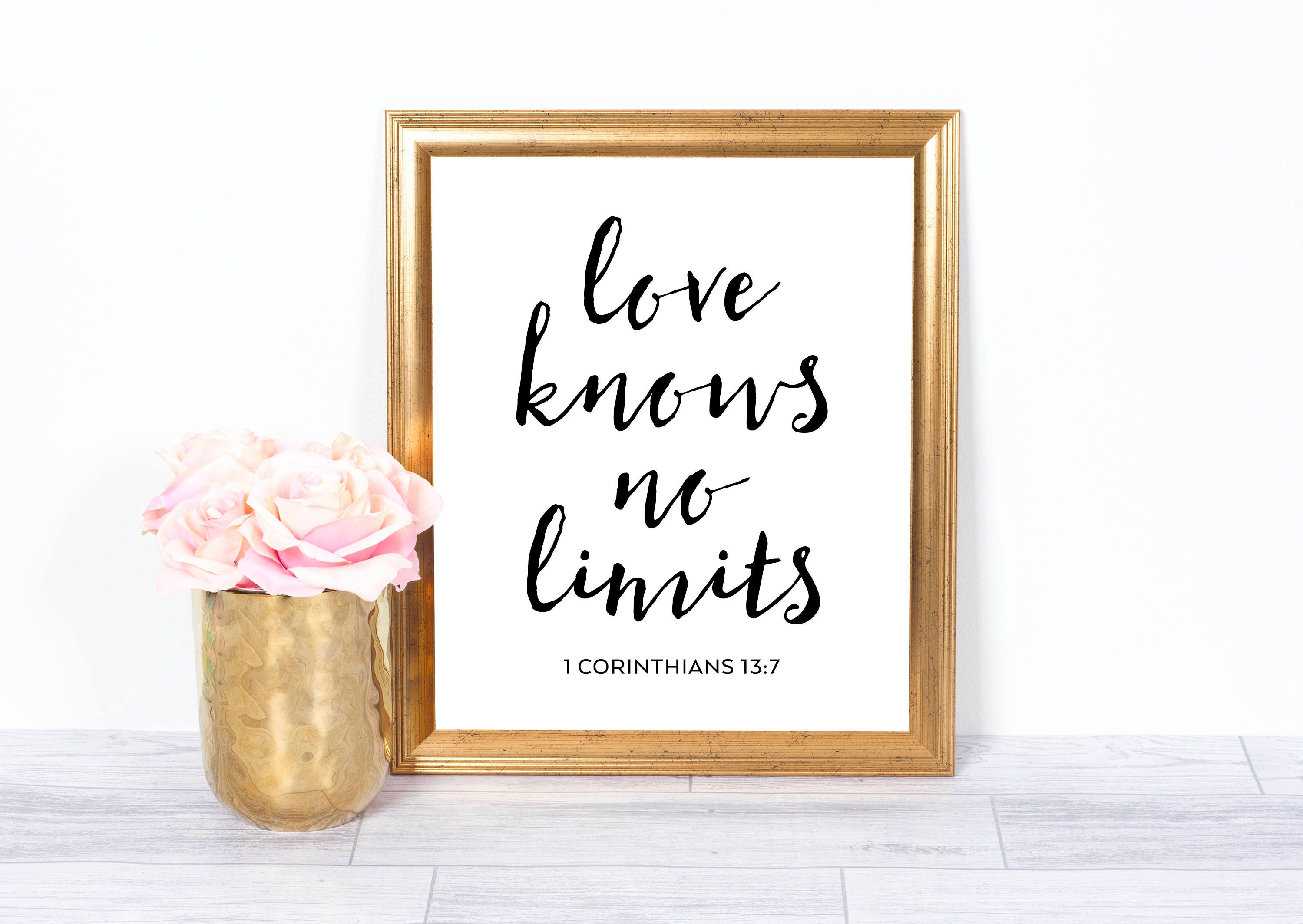 Love Knows No Limits Bible Verse Scripture Christian Art Etsy