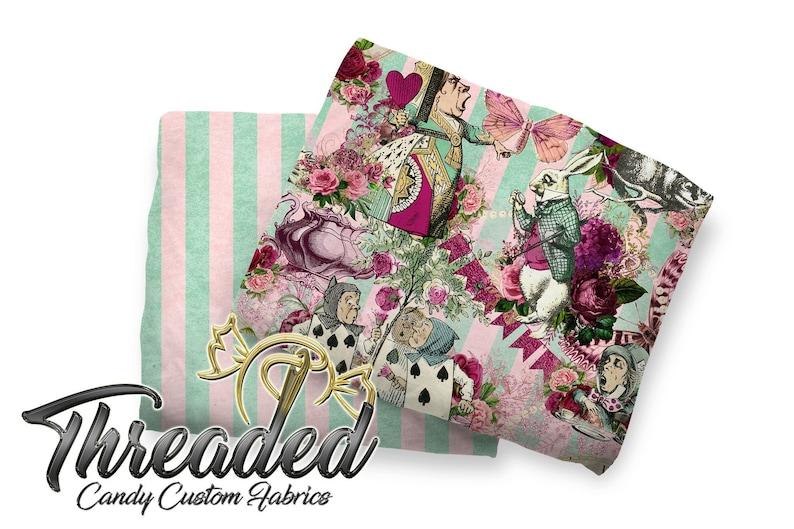Cotton Lycra Fabric Mint /& Blush Grunge Stripes