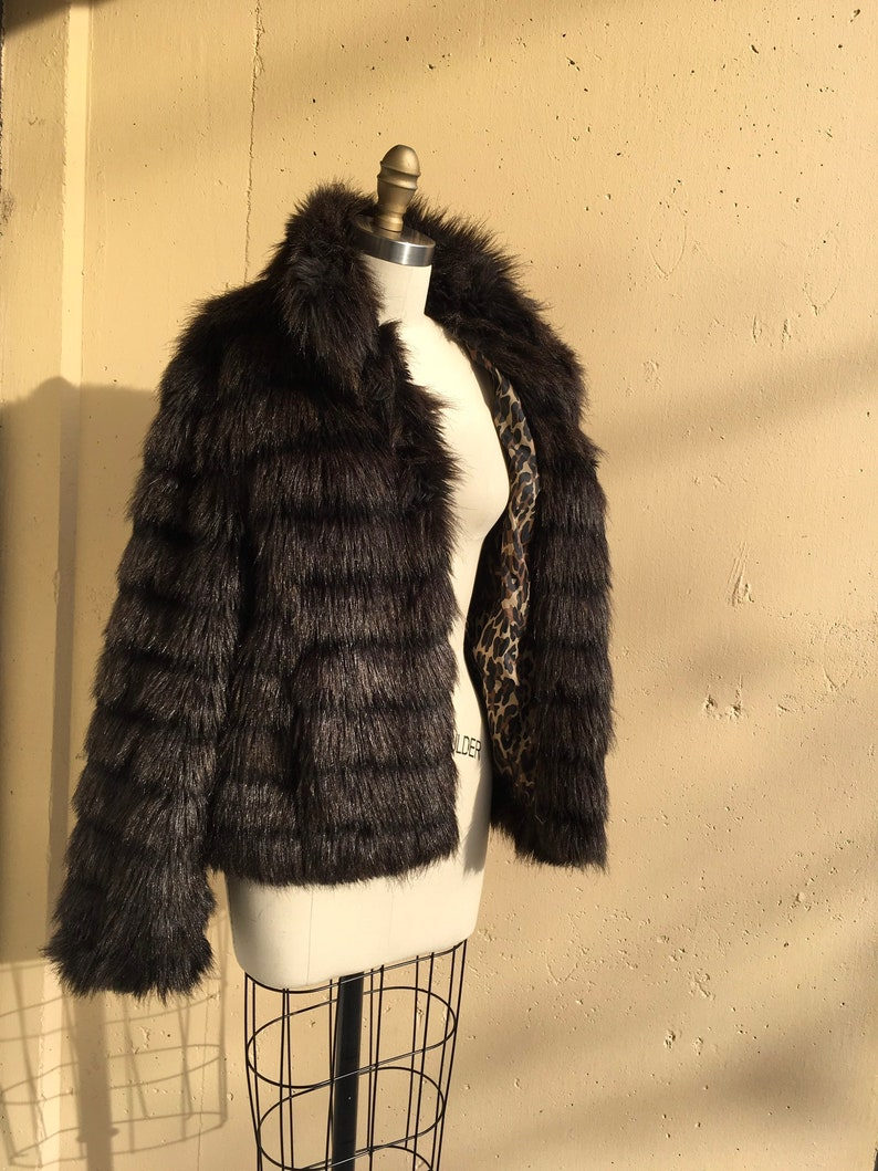efe7251d2e49 1990s Betsy Johnson Faux Fur Coat in Black & Chocolate | Etsy