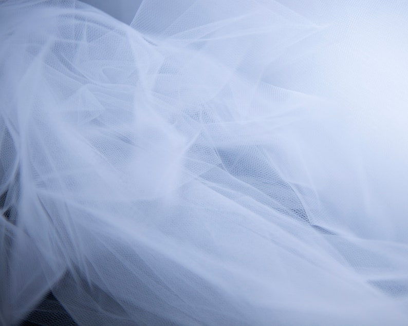 118 inches 3 meters Luxury tulle in white by the yard wide Soft white tulle fabric by the meter