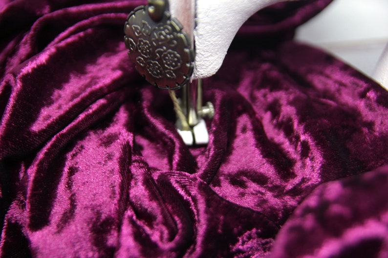 Burgundy crushed velvet fabric by meter Stretch burgundy velvet by the yard Burgundy fabric for formal dresses