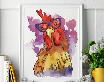 Rooster - Watercolor Painting - Rooster Art - Rooster Painting - Rooster Print - Rooster Fine Art Print