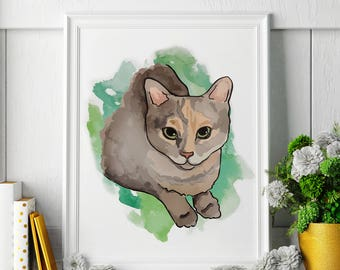 Tortoiseshell Cat - Watercolor Painting - Tortoiseshell Cat Art - Tortoiseshell Cat Painting - Animal Watercolor Print