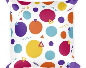 "Party Square Pillow 18""x 18"" Ready for Living Room or Bedroom"