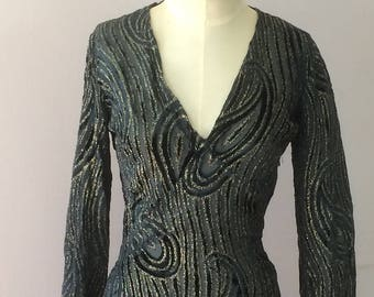 1960s Rare Jean Bouquin Couture Hippie Designer Evening Dress