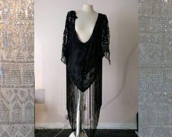 art deco beaded tunic, top, black beads, vintage, dress