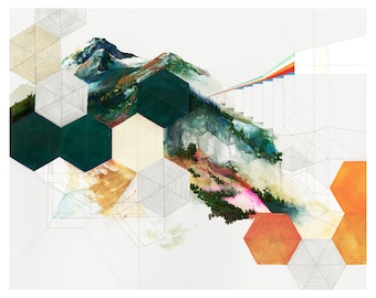 Mountainsides - Archival art print painting of geometric mountainscape