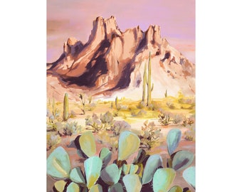 Superstition - Archival print of landscape painting of Superstition Mountains, AZ