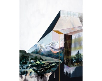 Overlook - Archival art print of original geometric landscape painting