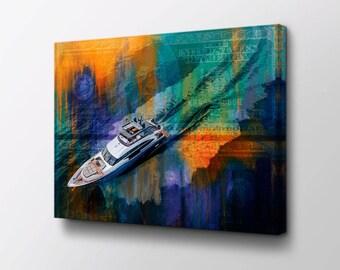 Yacht Canvas Wall Art - Yacht Life original design by Epik - Ready to Hang High Quality Canvas - Entrepreneur Art & Rolex Submariner Canvas Wall Art King Of Time original