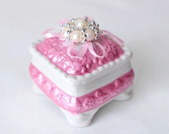 Small porcelain Jewelry box Engagement ring box Small pink box Ring storage box vintage Women summer gift