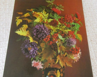 Autumn postcard flowers Autumn gift postcard Scrapbooking Paper Ephemera postcards flowers postcard Thanksgiving gift sister Gift for women