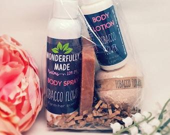 Spa Gift Bundle   Tobacco Flower Lover Basket   All Natural Organic   Bath Bomb   Handmade Soap   Body Lotion   Body Spray Perfume   Wrapped