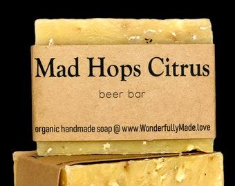 Mad Hops Citrus Luxury Soap Bar   Hops Beer Bar   Gift   Organic Shea Butter   Hand Wash Soap   Vegan   All Natural