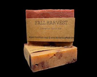 Fall Harvest Soap Bar   Limited Edition   Natural   Handmade   Autumn Scents   Apple Pear Cinnamon Crisp Leaves   Redwood   Organic Oils