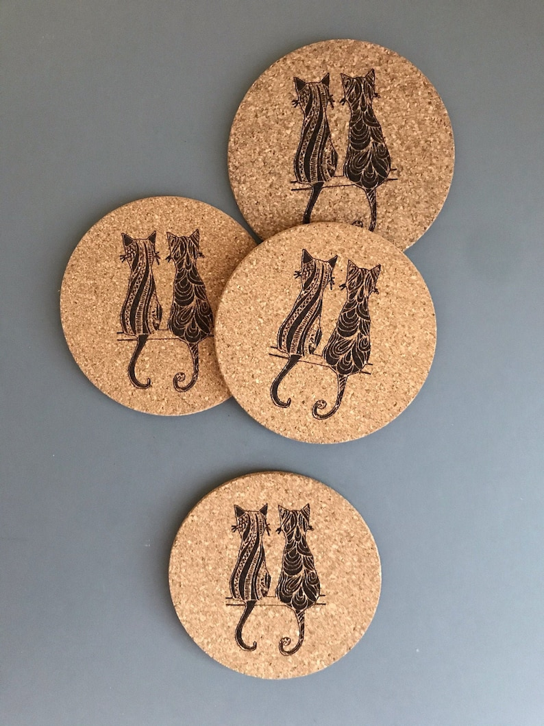 Two Cats  Engraved on  Cork Coasters-set of 4 OR 6