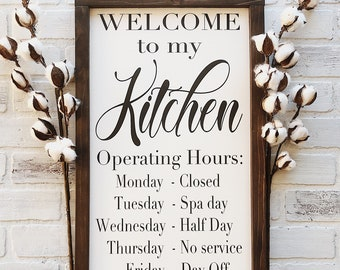 Kitchen framed art Canvas Welcome To My Kitchen Kitchen Operating Hours Rustic Framed Wood Sign Farmhouse Style Kitchen Decor Gift For Her Wall Art Art Painting Framed Kitchen Art Etsy