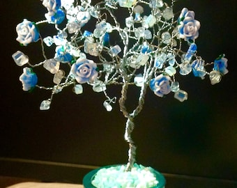 Opalite and blue roses