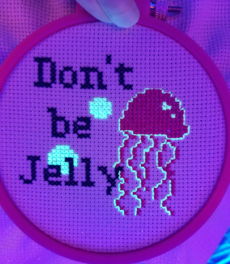 cross stitch kit beginner modern easy glow in the dark jellyfish cross stitch kit great dad gift from daughter son father/'s day