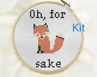 Cross stitch kit beginner, oh for fox sake, counted cross stitch kits