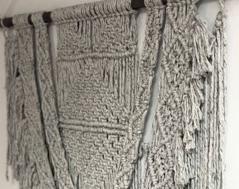 """Large Cookies 'n Cream Speckled Macrame - 36"""" / Tapestry / Wall Hanging"""