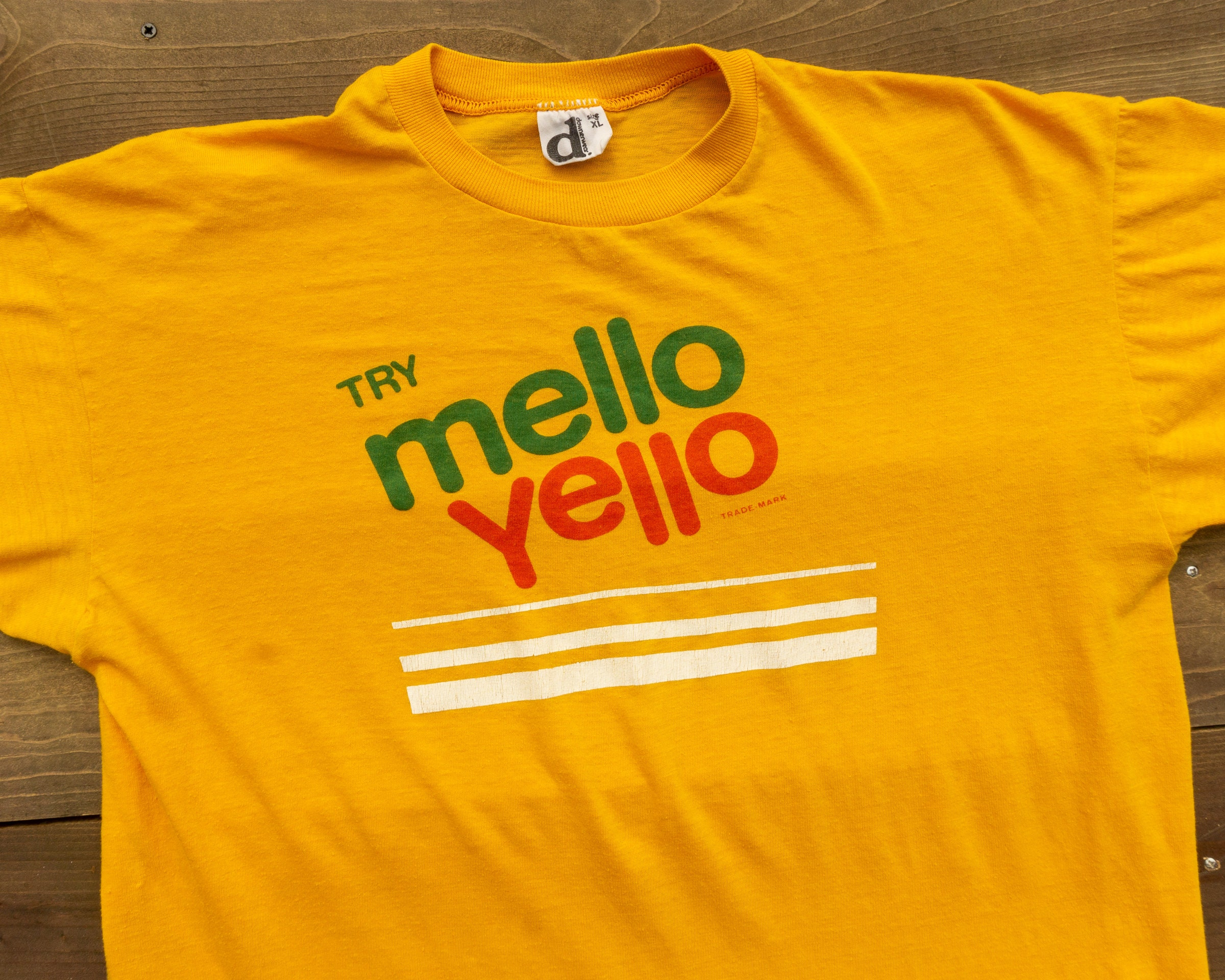 80s Tops, Shirts, T-shirts, Blouse   90s T-shirts 80S Vintage Try Mellow Yellow Paper Thin T-Shirt $40.00 AT vintagedancer.com