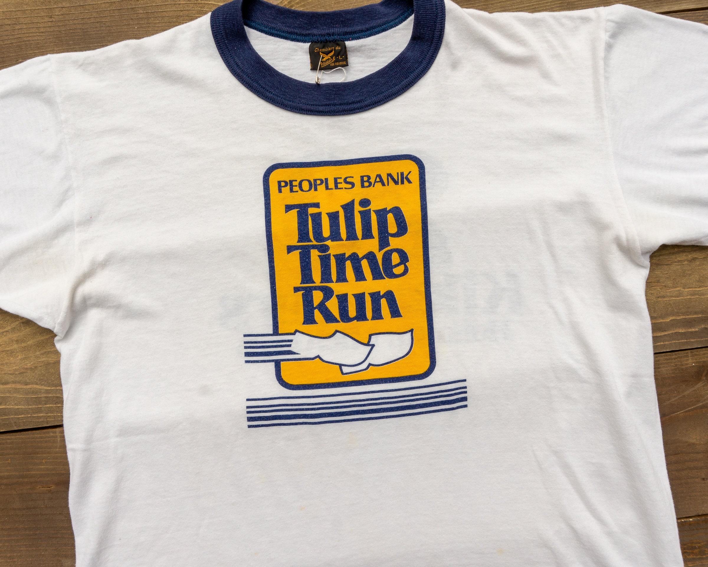 80s Tops, Shirts, T-shirts, Blouse   90s T-shirts 80S Ringer Tee Marathon Race Tulip Time Run $34.00 AT vintagedancer.com