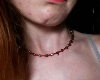 Red and Hematite choker