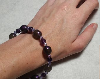 Purple and Lavender beaded bracelet