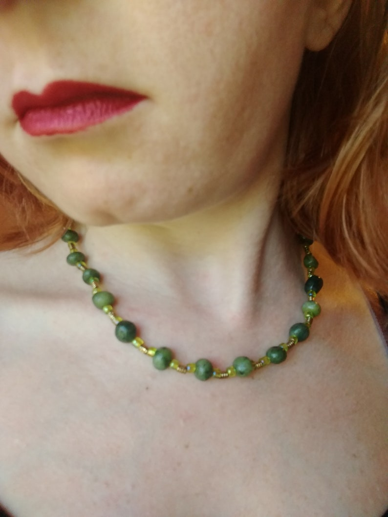 Green Pebble Serpentine choker