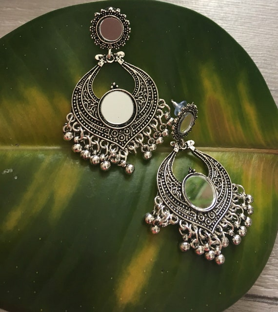 Ethnic vintage earrings clips an Indian in the city