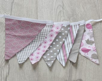 Kit sewing flags Garland pink and taupe