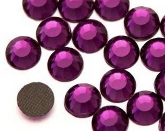 Rhinestone, fusible, rhinestones fusible purple 5mm - 10 rhinestone bag