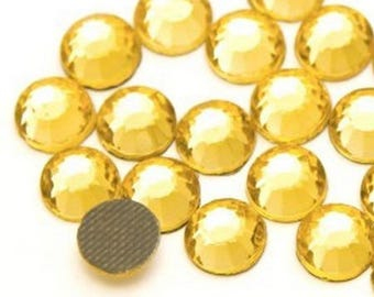 Rhinestone, fusible, rhinestones fusible Gold 4mm - 15 rhinestone bag
