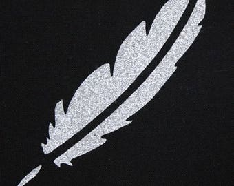 Pattern, fusible, badge, patch, flex, flock, silver 100 X 25 mm glitter feather