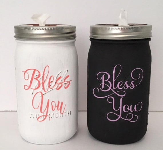 Bless You Mason Tissue Jar With Personalized Font Color Etsy