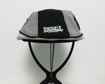 Black Ivy Hat with White Stripes Warmer Flap size 57.5cm  f6b6cf70b53e