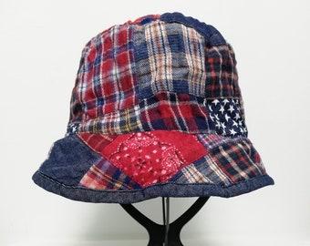 990ed6697b638 Vintage Plaid Patchwork Pattern Multicolor Reni Hat Bucket Hat size 56cm