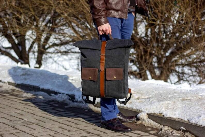 bb327cb2b3202 Skórzany plecak płócienny plecak na płótno plecak na płótno | Etsy