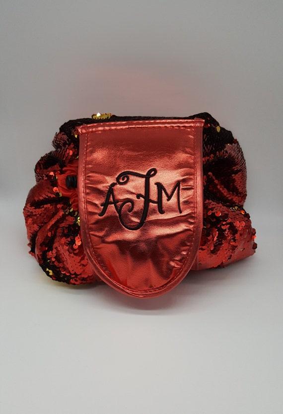 14abd0fa22c6 Personalized Mermaid Sequin Drawstring Makeup Bag