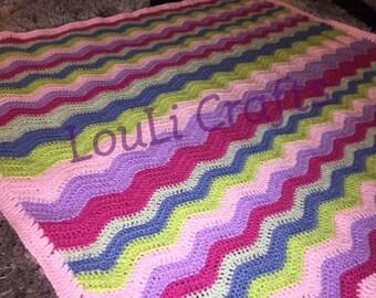 Baby Blanket, Crochet Baby Blanket, Rainbow Ripple Crochet Baby Blanket, Crib Blanket