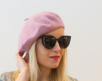 Blush pink Beret Hat Wool Knit French Beret Pink Black Spring Fashion  Spring Accessory Gift For Her Slouchy Beret Hat Women s Gift Knit Hat f544a69ec92b