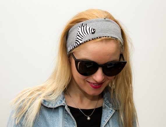 Zebra headbands with bow Non slip hairband Running ear warmers  2b15031d168