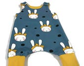 Harem romper size 56 (0-3months) rabbit, blue, yellow, summer, baby clothes, clothing, bow
