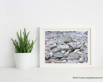 Coastal Photography Photo Art - Pebble Stacks on a Beach *SUPPLIED WITHOUT FRAME*